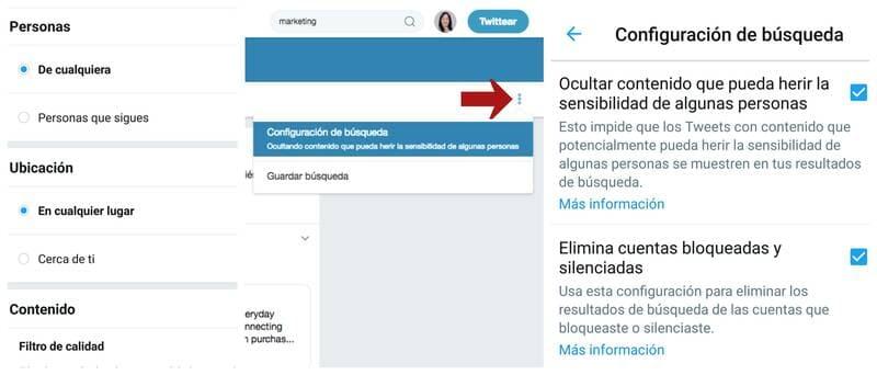 Opciones de búsqueda en Twitter