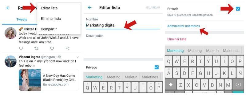 Editar o hacer privada una lista de Twitter