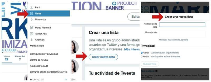 Crear una nueva lista de Twitter en el PC