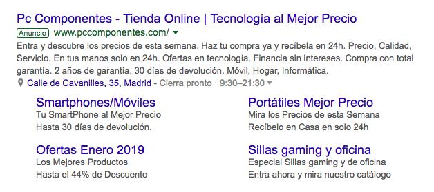 Anuncio google con extensiones